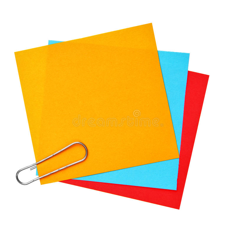 Blank colorful papers. With clip isolated over white background stock photo