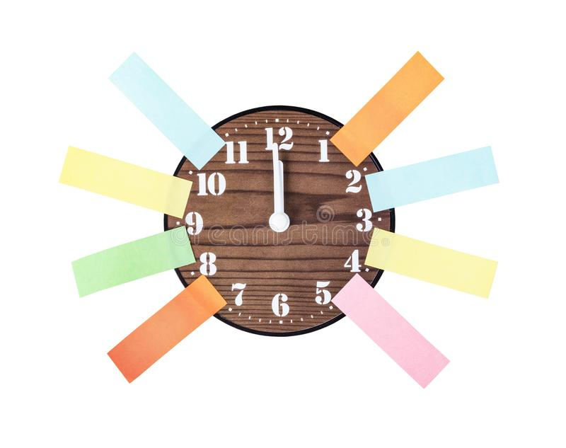 Blank colorful post it note paper sticky and vintage alarm. royalty free stock photos