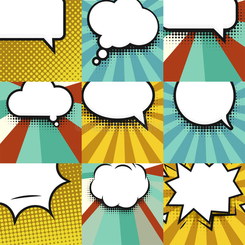 Blank comic balloon set template. Clear comics colorful speech bubbles halftone dot background style pop art collection royalty free illustration