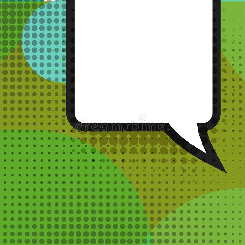 Blank comic balloon template. Clear comics colorful speech bubbles halftone dot background style pop art. Text dialog royalty free illustration