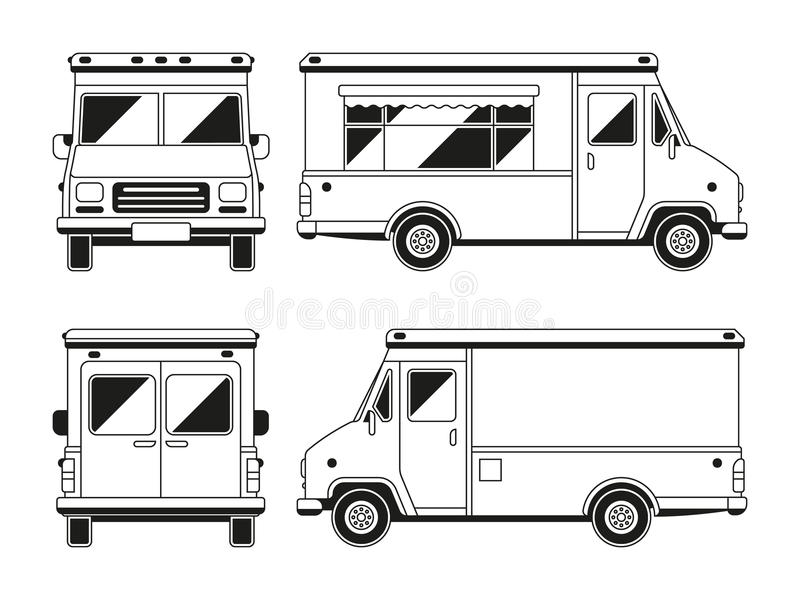 Blank commercial food truck in different points of view for Food wheel template