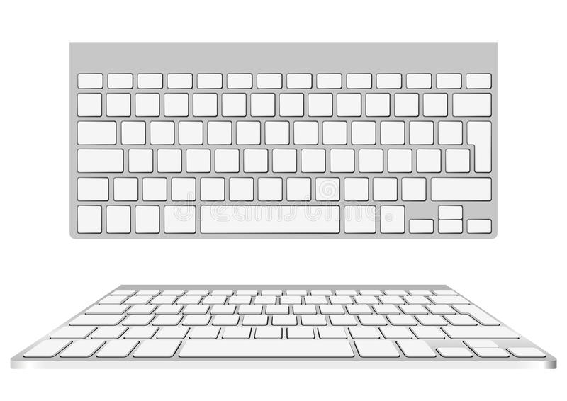Blank computer keyboard. Vector blank computer keyboard. Top view and perspective view royalty free illustration