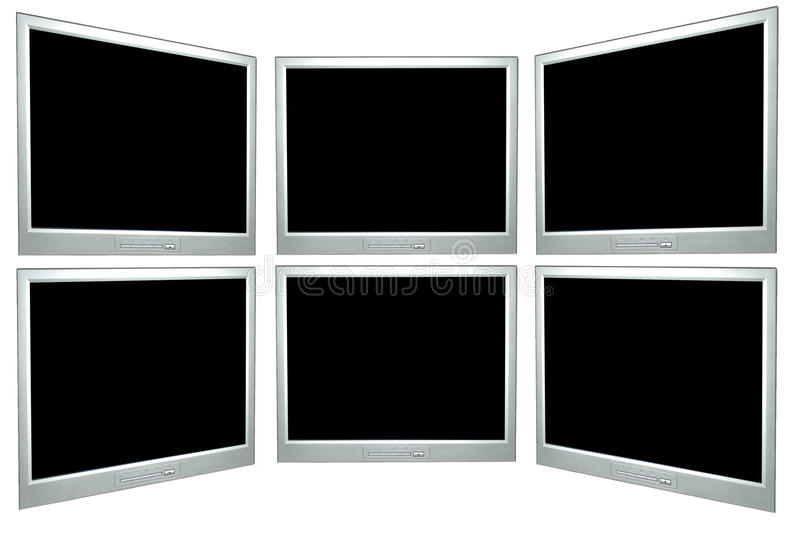 Blank computer screens. In a panel, spaces for writing royalty free illustration