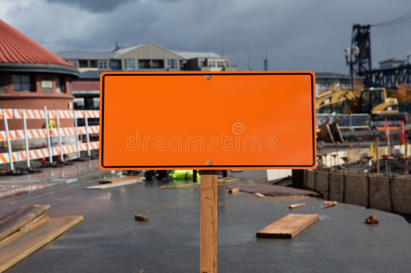 Blank construction sign stock photography