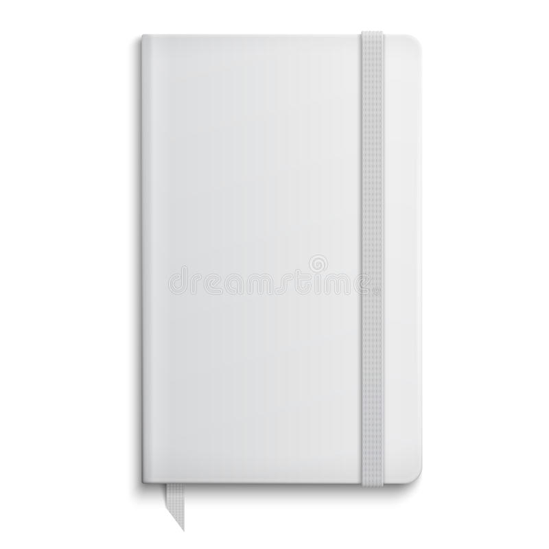 Blank copybook template with elastic band. Blank copybook template with elastic band and bookmark. Vector illustration royalty free illustration