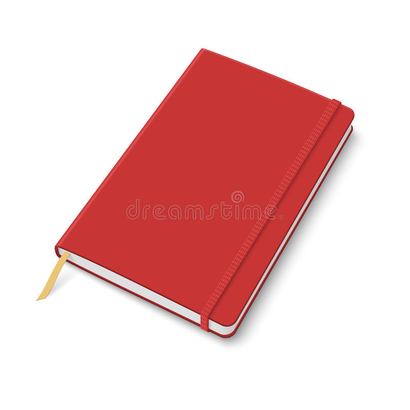 Blank copybook template with elastic band. Blank red copybook template with elastic band and bookmark. Vector illustration vector illustration