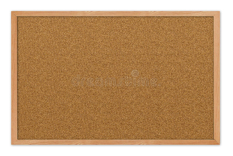 Blank Cork board. With wooden frame isolated on white royalty free stock image