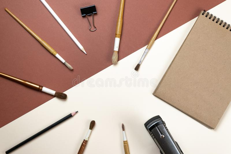 Blank corporate stationery set on brown background. Branding mock up. Flat lay. royalty free stock image