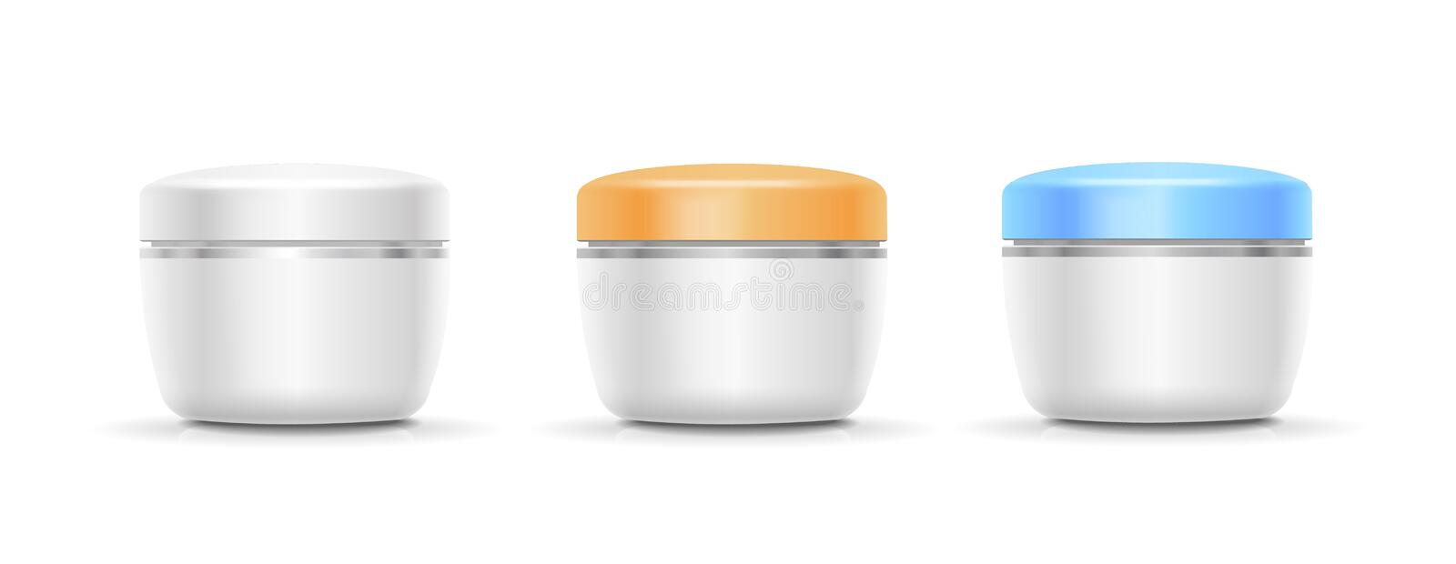 Blank Cosmetic Container for Cream, Powder or Gel. Vector. Illustration royalty free illustration