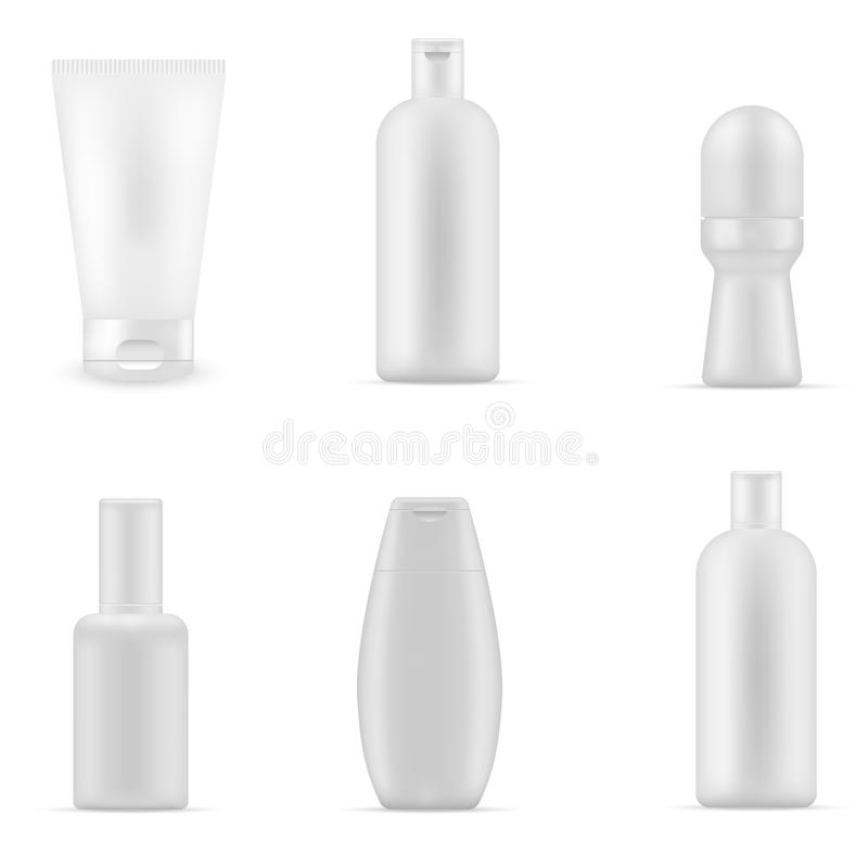 Blank cosmetic package collection. Packages Beauty Products Realistic set isolated on white background royalty free illustration