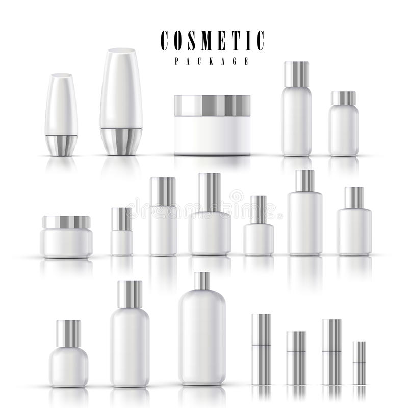 Blank cosmetic package collection stock illustration