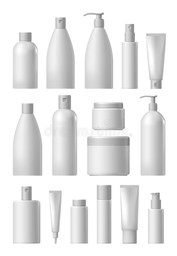 Blank cosmetic package collection set royalty free illustration