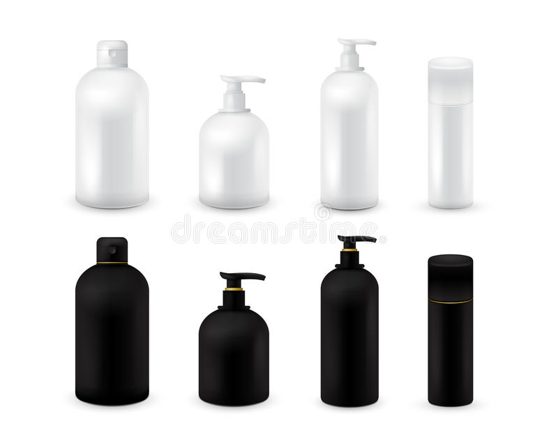 Blank cosmetic package collection set isolated on white background. Realistic cosmetic bottle mock up set. Shampoo and stock illustration