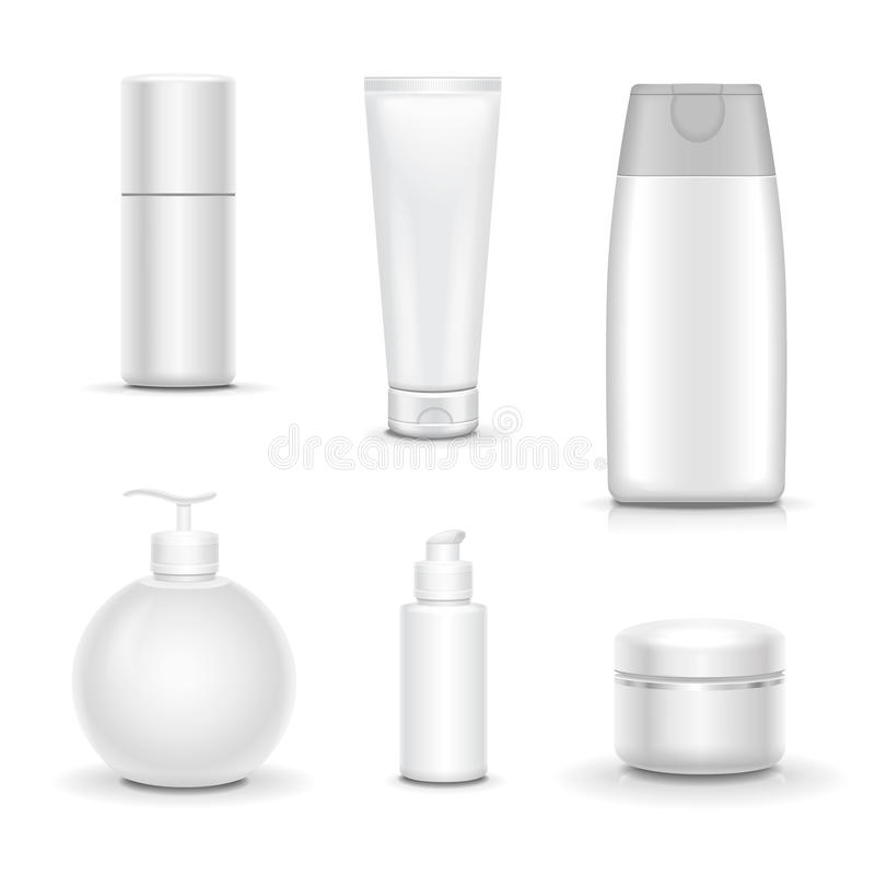 Blank cosmetic package collection set on white background vector illustration