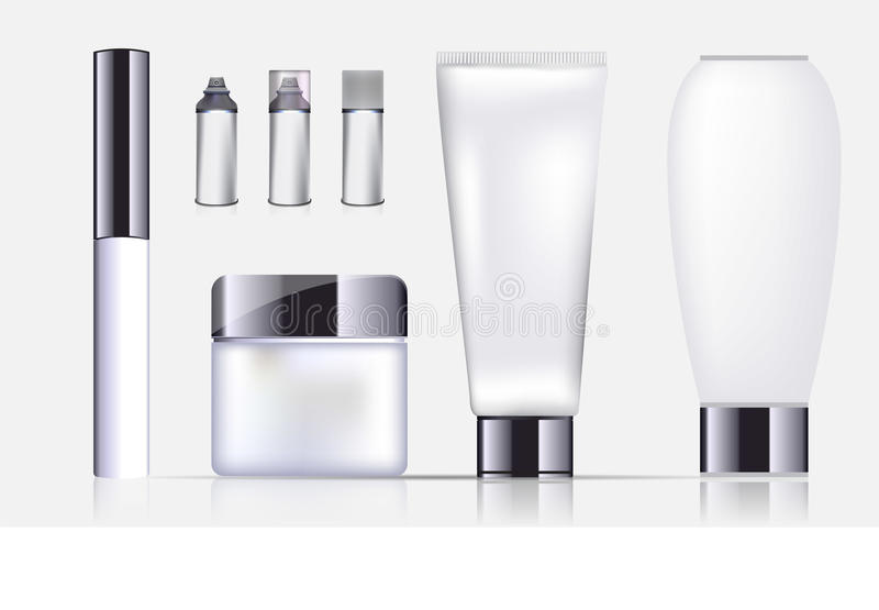 Blank cosmetic package collection set on white background. Vector royalty free illustration