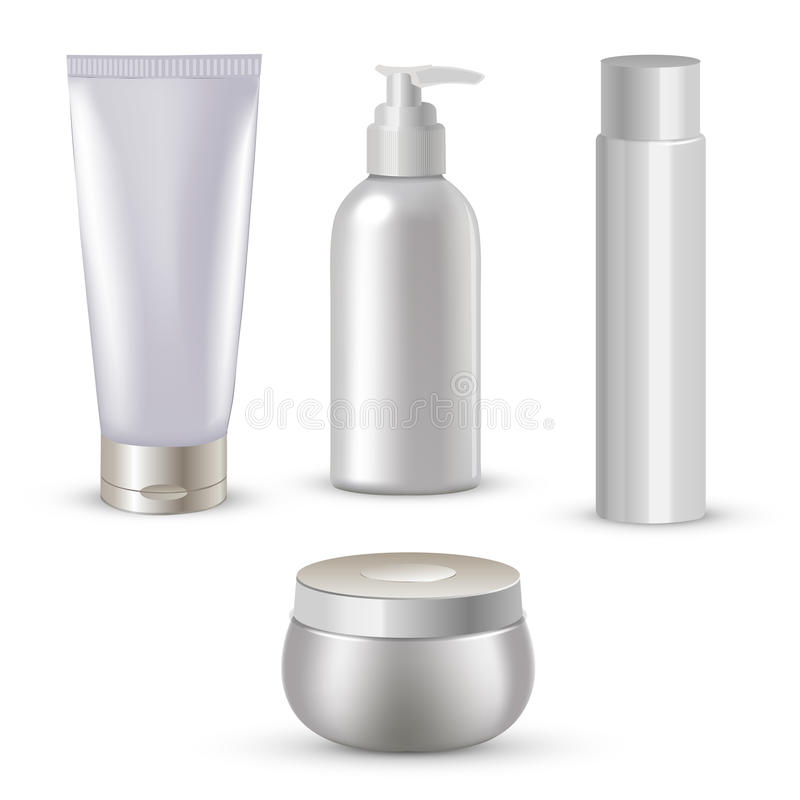 Blank cosmetic package collection set on white background. Vector illustration. royalty free illustration