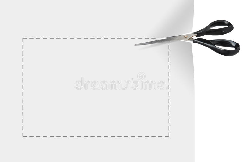 Blank coupon. Scissor cutting a blank coupon isolated on white background vector illustration