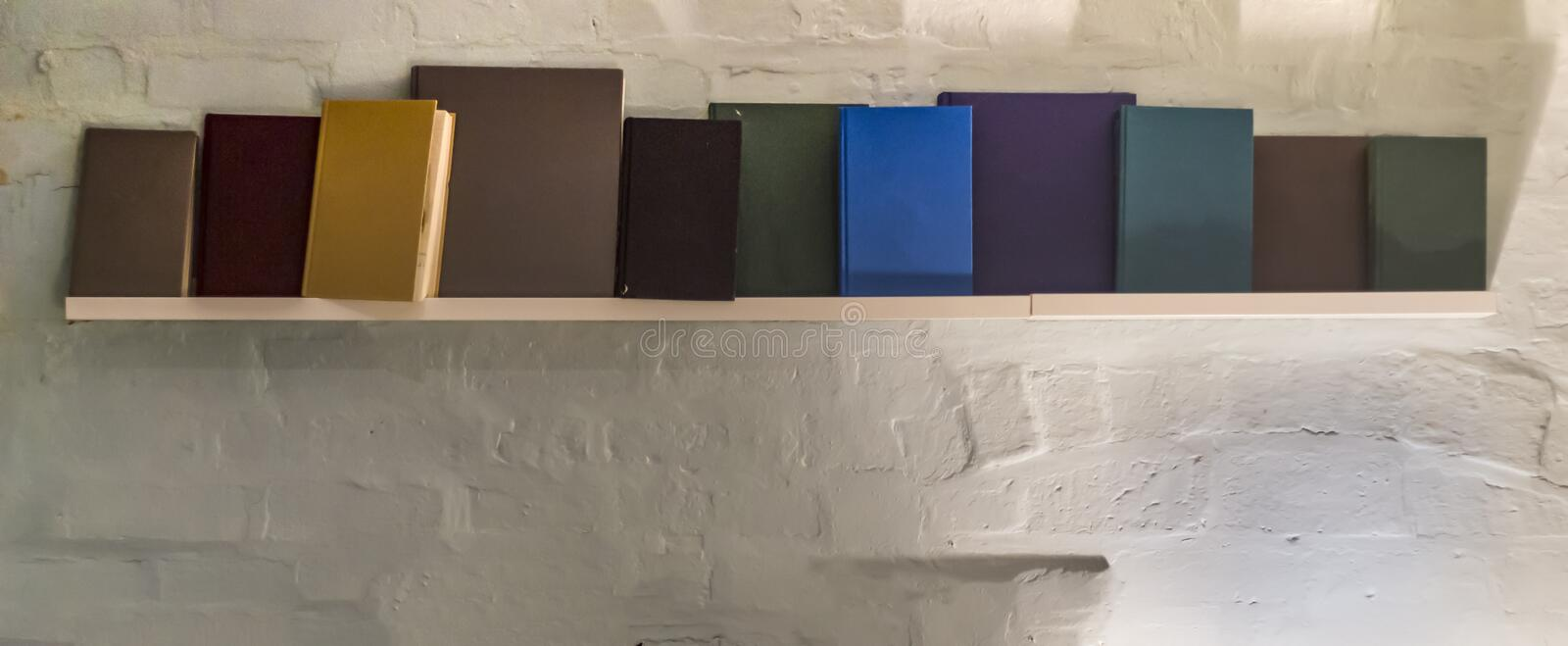 Blank books on a shelf royalty free stock photography