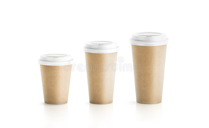 Blank craft brown paper cup mockup isolated stock images