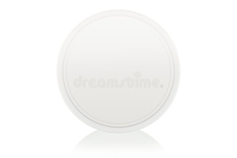Blank cream box on white stock photos