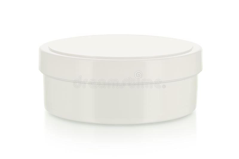 Blank cream box on white stock images