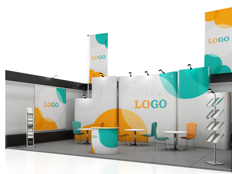 Exhibition Stand Design Mockup Free Download : Blank creative exhibition stand design with color shapes