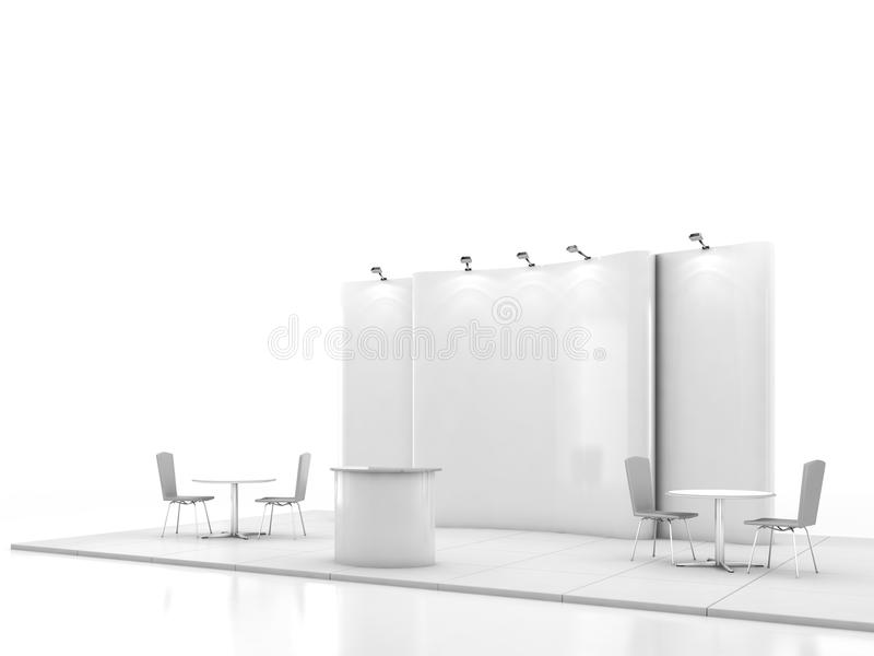 Blank creative exhibition stand design with color shapes. Booth template. 3D render vector illustration