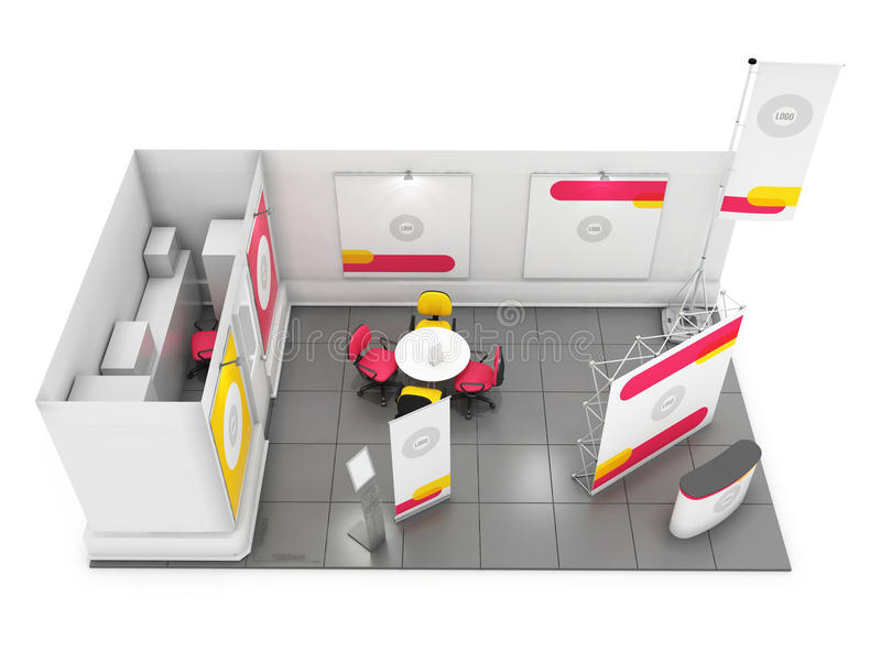 D Rendering Exhibition : Blank creative exhibition stand design with color shapes