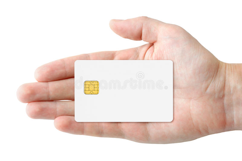 Blank credit card in hand royalty free stock photos