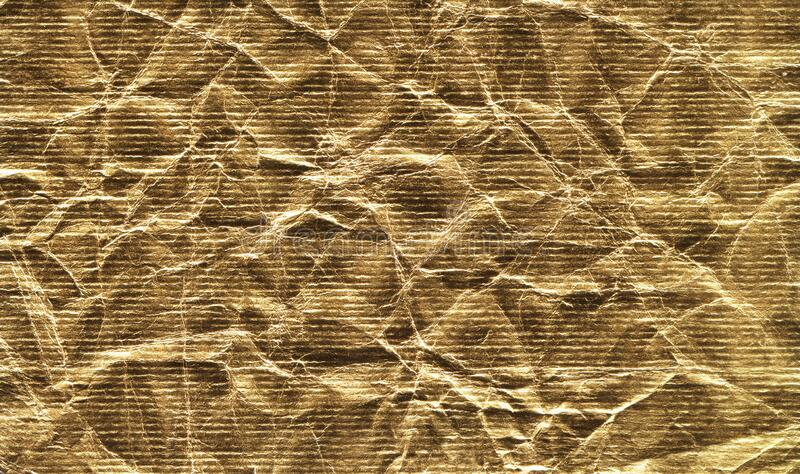 Blank crumpled golden paper textured background isolated royalty free stock image