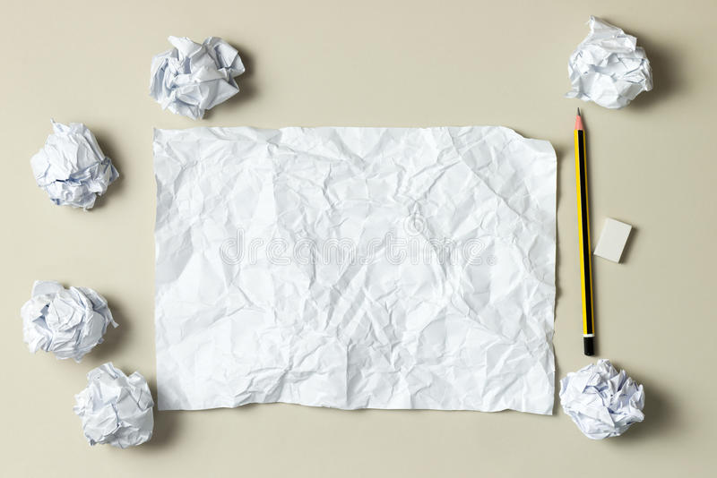 Blank crumpled paper royalty free stock photo