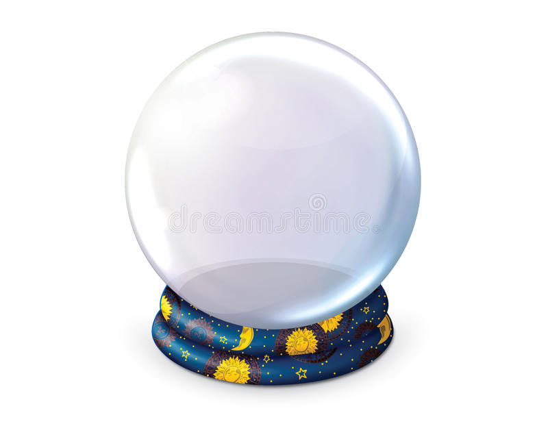 Blank crystal ball on white background. Fortune tellers blank crystal ball on a white background stock photos