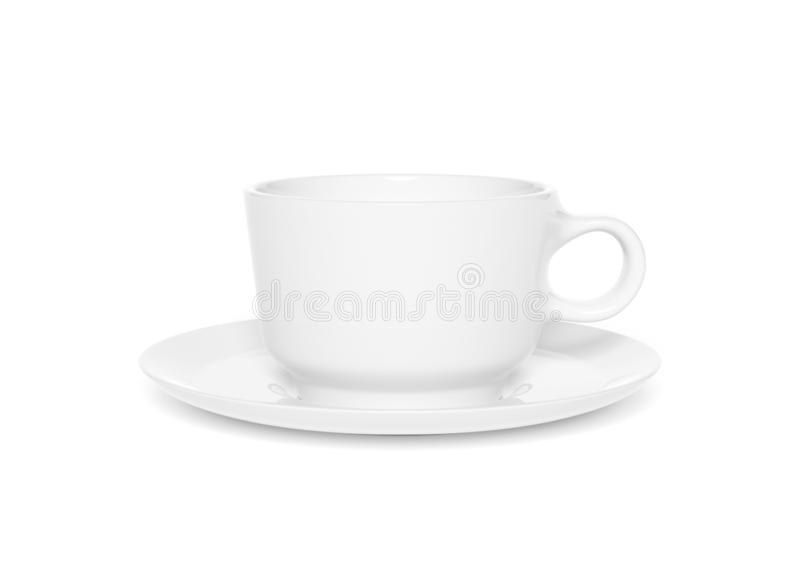 Blank cup mockup isolated on white background 3d rendering. Blank ceramic cup mockup isolated on white background 3d rendering vector illustration