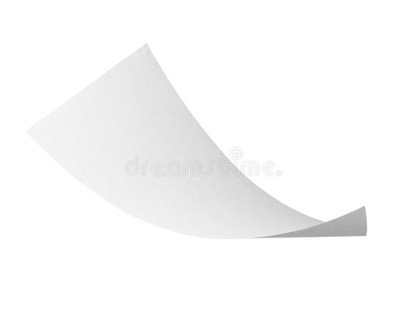 Blank curl paper flying in wind stock photography
