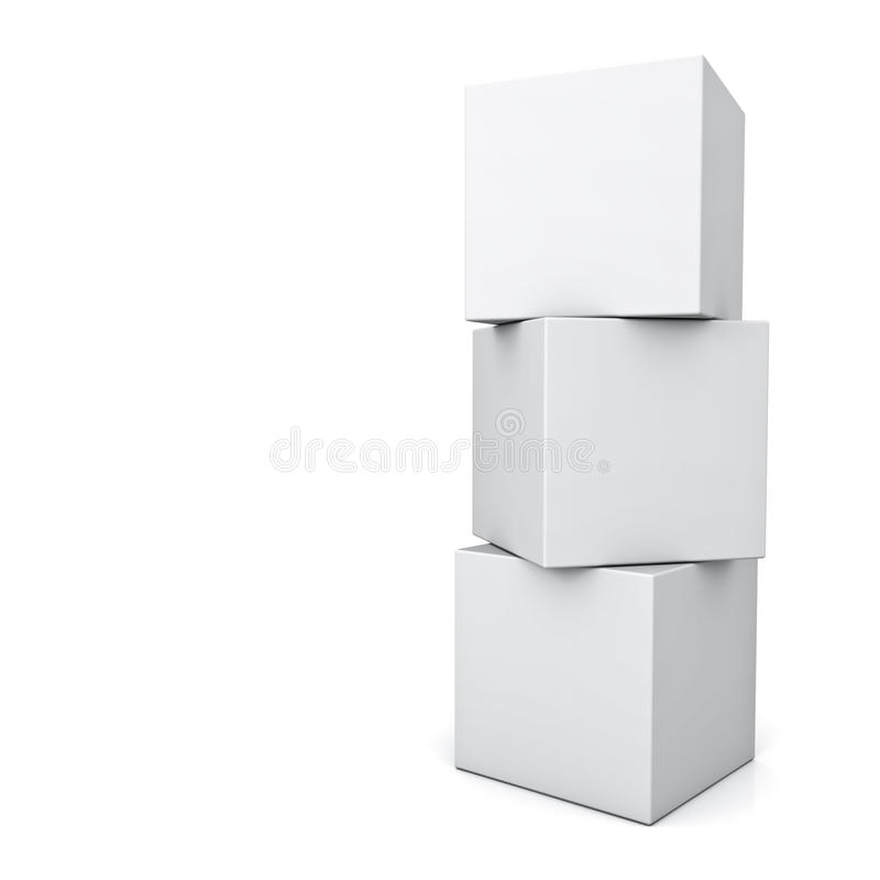 Blank 3d concept boxes standing isolated on white background vector illustration