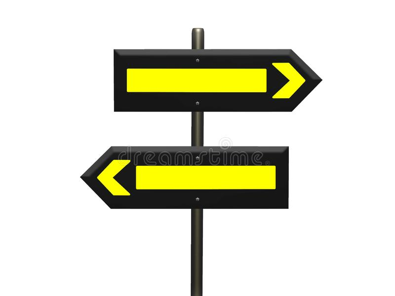 Blank 3d rendered signs. With bright yellow interior shapes on a sign post against a white background stock illustration