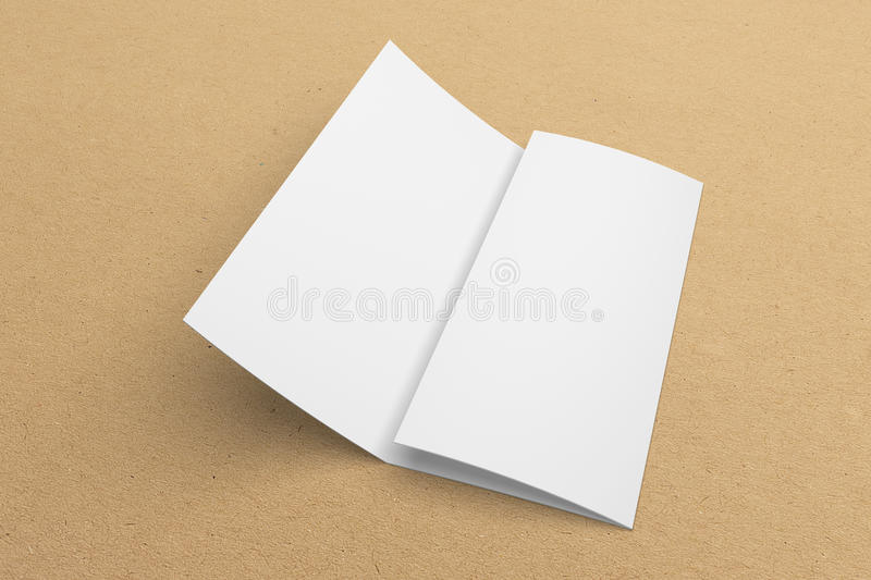 Blank 3d rendering tri fold brochure mock up with clipping for 3d brochure template