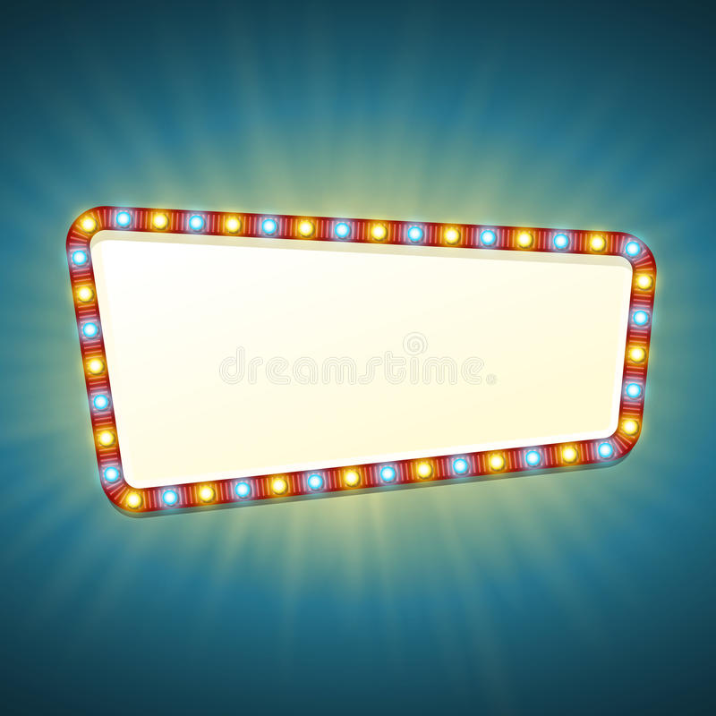 Blank 3d retro light banner with shining bulbs. Red sign with yellow and blue lights and blank space for text. Vintage. Street signboard. Advertising frame with vector illustration