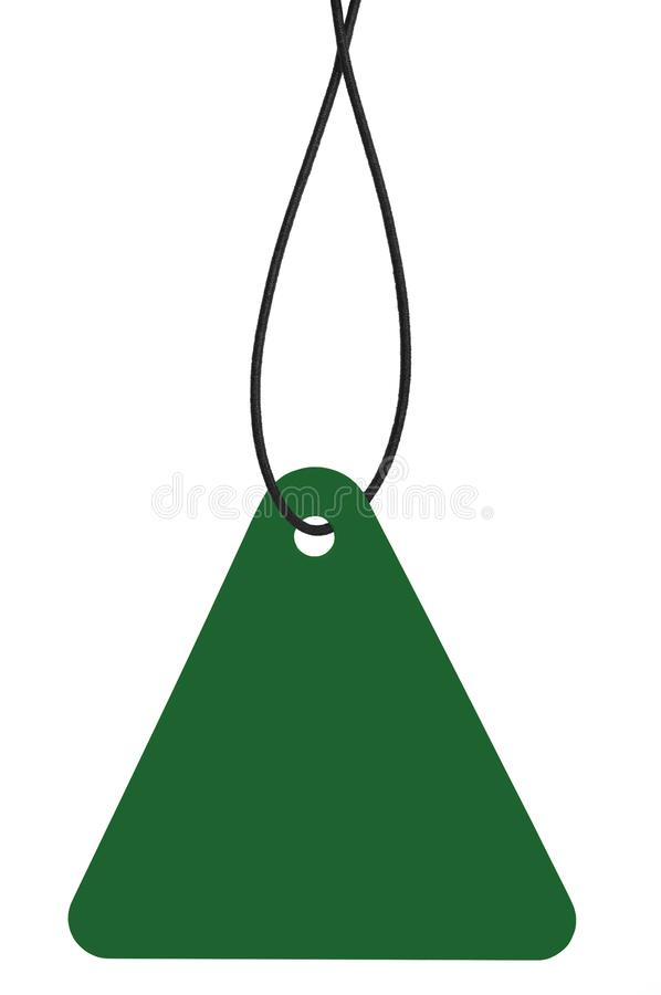 Blank Dark Green Cardboard Sale Tag And String, Empty Price Label Triangle Badge Background, Vertical Hanging Isolated Macro. Closeup Copy Space, Large Detailed stock photography