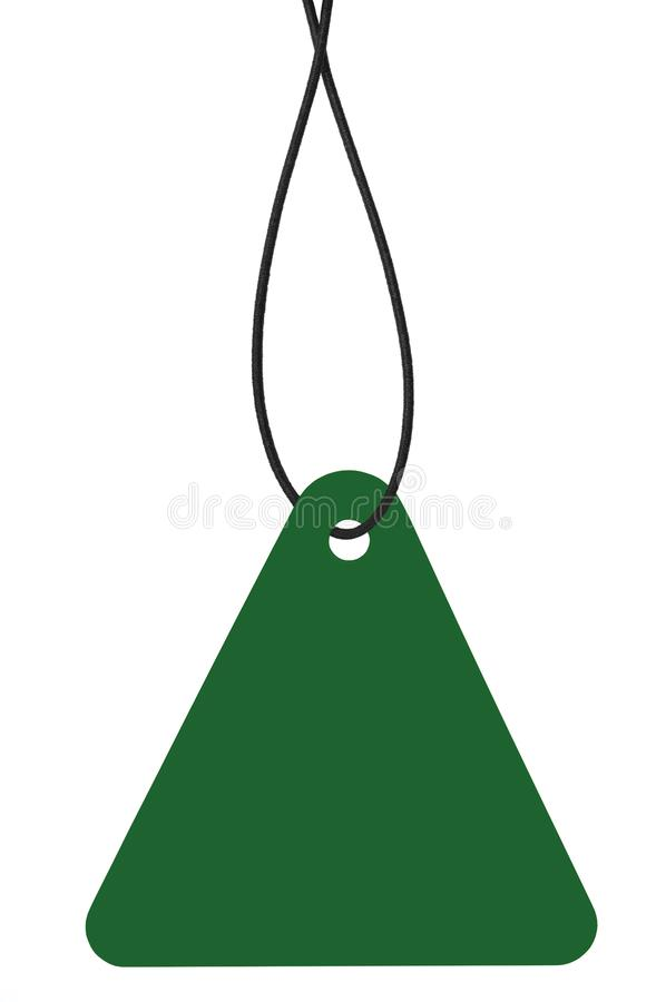 Blank Dark Green Cardboard Sale Tag And String, Empty Price Label Triangle Badge Background, Vertical Hanging Isolated Macro. Closeup Copy Space, Large Detailed royalty free stock images