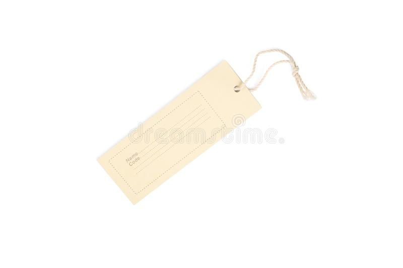 Blank decorative cardboard paper gift tag with twine tie, isolated on white background royalty free stock images