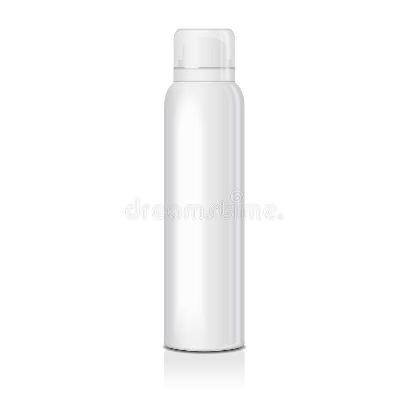 Blank deodorant spray for women or men. Vector mock up template of white metal bottle with transparent cap stock illustration