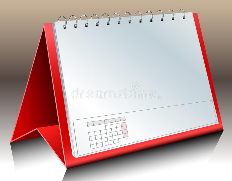Blank desk calendar. Red desk calendar with blank papers stock illustration