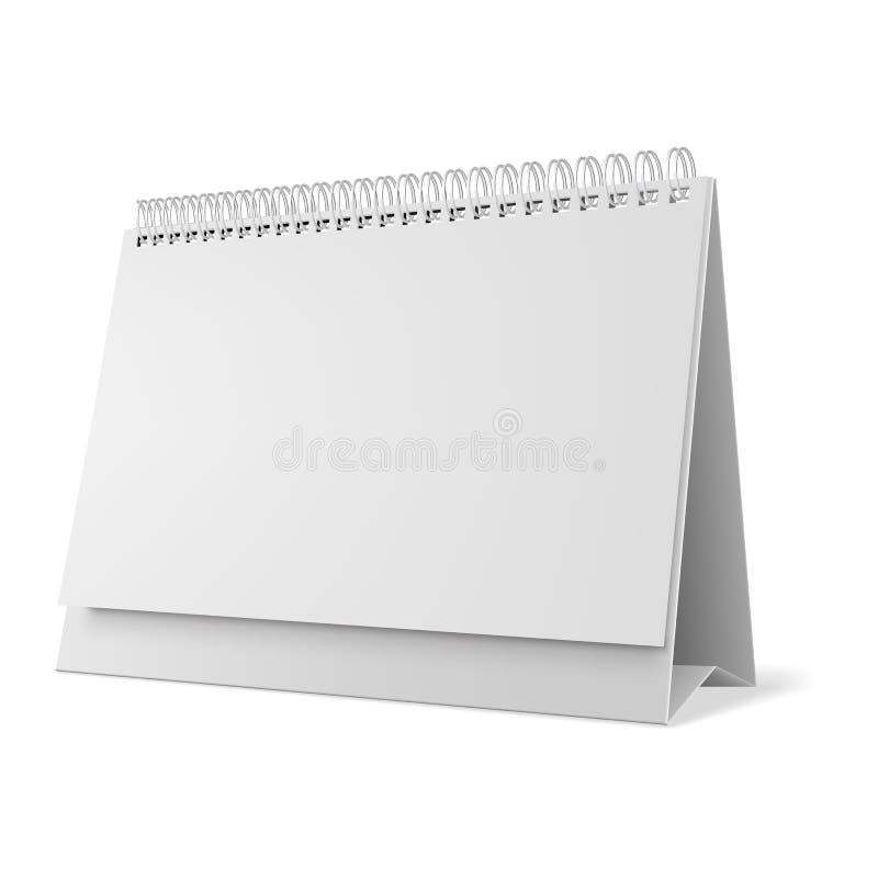 Blank desk calendar 3d mockup vector illustration. Horizontal realistic paper calendar blank royalty free illustration