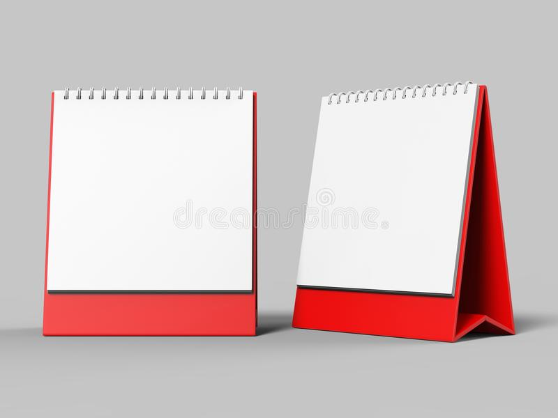 Blank desk top calendar isolated on white background for mock up and print designs. 3d render illustration. Blank desk top calendar isolated on white background vector illustration
