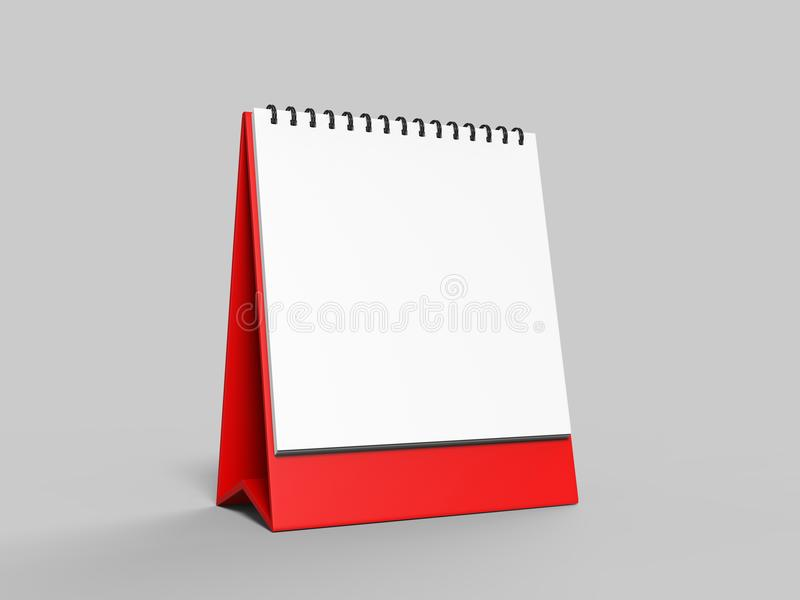 Blank desk top calendar isolated on white background for mock up and print designs. 3d render illustration. Blank desk top calendar isolated on white background royalty free illustration