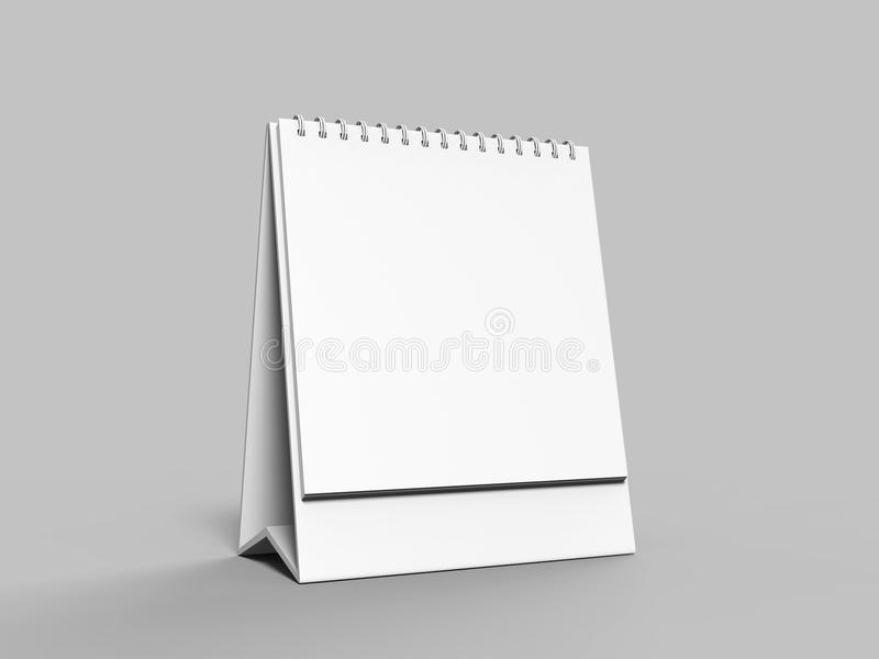 Blank desk top calendar isolated on white background for mock up and print designs. 3d render illustration. Blank desk top calendar isolated on white background stock illustration