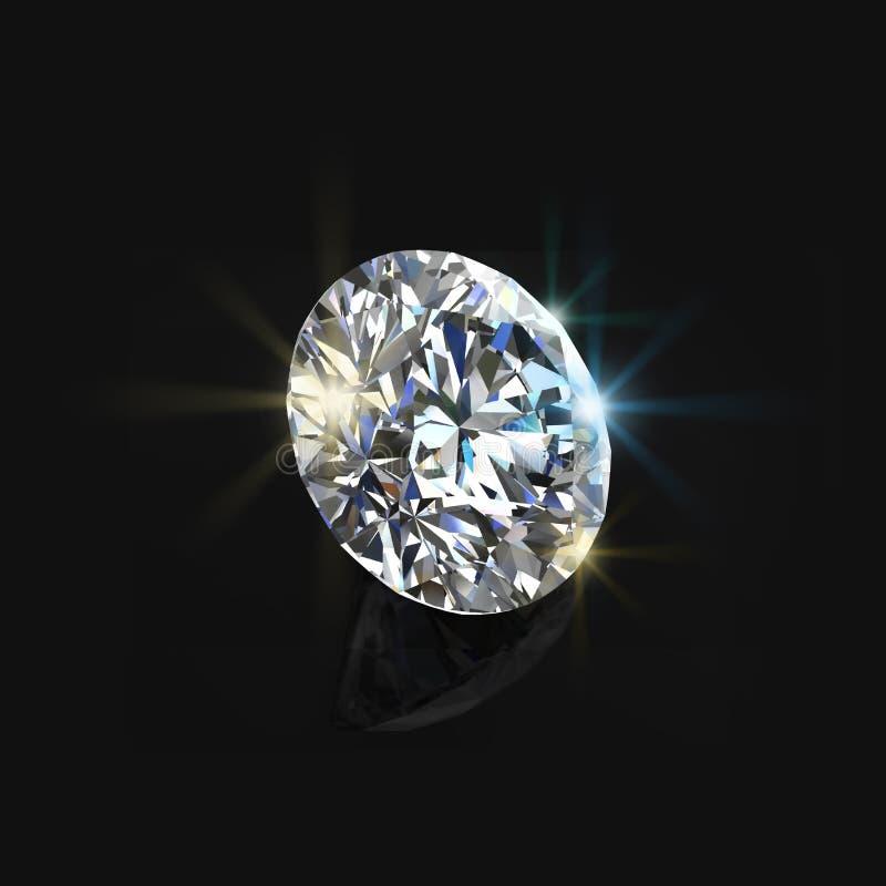 Blank diamant på svart bakgrund tolkning för bakgrundsdesign 3D-image vektor illustrationer
