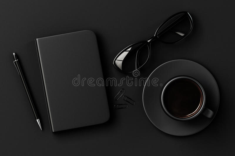 Blank diary, pen, cup of coffee, clips and glasses on black table royalty free stock photography