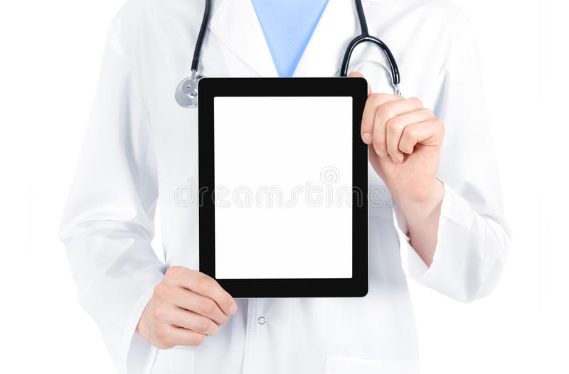 blank digital doktorsPC som visar tableten royaltyfri fotografi